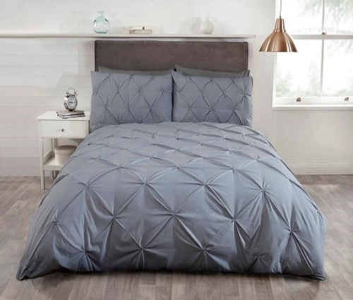 """Balmoral""Silver pin tuckedContemporary Double Duvet set ""Belle Amie"" by Rapport"